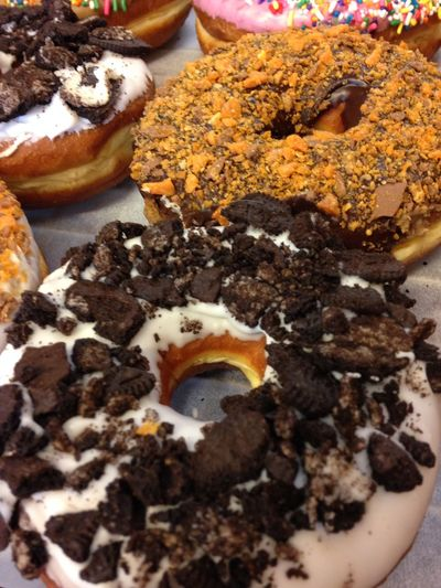 Chocolate, Nuts, Delicious Close-up Donut Bakery, Food, Fragility Freshness High Angle View Indulgence Nature No People