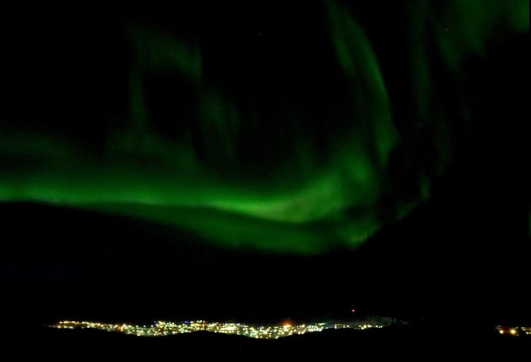 The town of Ilulissat. Greenland. Ilulissat The Real Greenland This Is Greenland EyeEm Best Shots - Nature EyeEm Best Shots EyeEm Nature Lover Nature Photography Nature_collection Nature Night Sky Green Color Beauty In Nature Nature Light - Natural Phenomenon No People Scenics - Nature Outdoors Astronomy