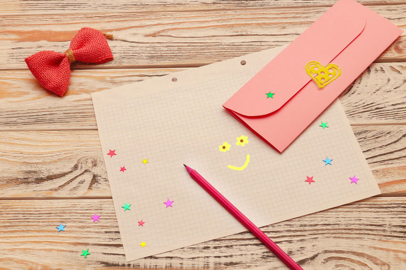 Happy Valentines Day ;) Envelope Table Paper Wood - Material Indoors  High Angle View Still Life Art And Craft Heart Shape Love Emotion Positive Emotion Creativity Ribbon No People Pink Color Craft Valentine's Day  Copy Space