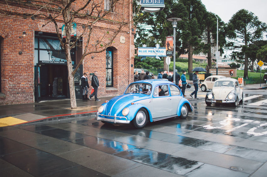 Architecture Beetle Building Exterior Built Structure Car City City Cold Day Land Vehicle Mode Of Transport Outdoors Rainy Day Real People Road Spring Street Transportation Tree Focus On The Story