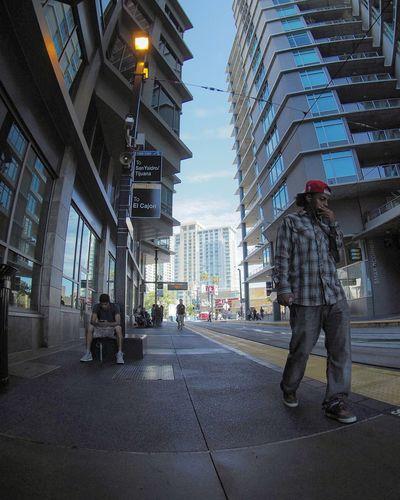 People walking in city street