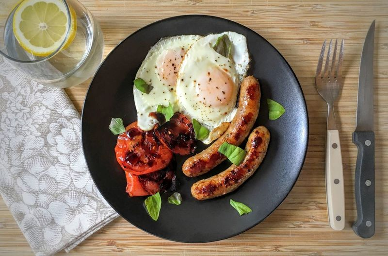 Food And Drink Indoors  Ready-to-eat Indulgence Overhead View Breakfast Tabletop Eggs For Breakfast Hungry Now Food Freshness Table High Angle View Directly Above Healthy Eating Plate Serving Size