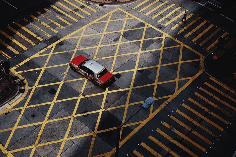 High Angle View Of Car On Street