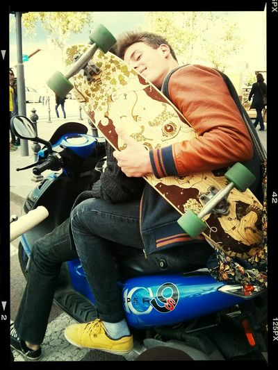 to lazy to use longboards.. let's ride the motorbike, shall we? Love Frieds