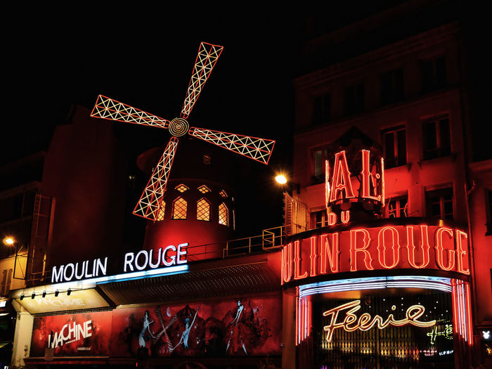 Architecture City EyeEmNewHere Illuminated Moulin Rouge Neon Night Nightlife No People Outdoors Paris Night Life Pigalle Red Red Light Travel Travel Destinations Urban Exploration Urban Photography
