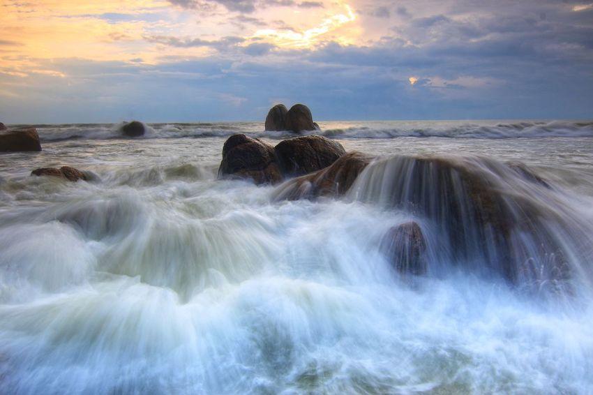 Dance of Wave Sunrise Waves, Ocean, Nature Rock - Object Monsoon Season Landscape Water Beach Beauty Nature Cloud - Sky Scenics Beauty In Nature Outdoors No People Sky