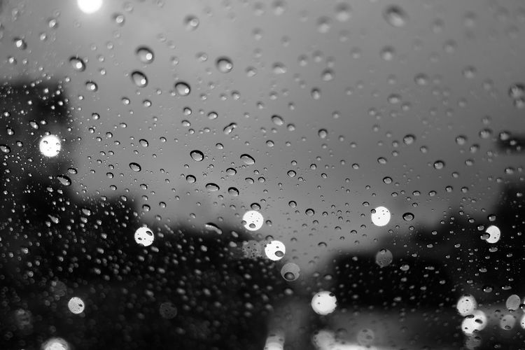 Raindrops on windshield Water Backgrounds Drop RainDrop Wet Window Full Frame Abstract Defocused Close-up Rainy Season Weather Transparent Windshield Car Point Of View Rain Rainfall