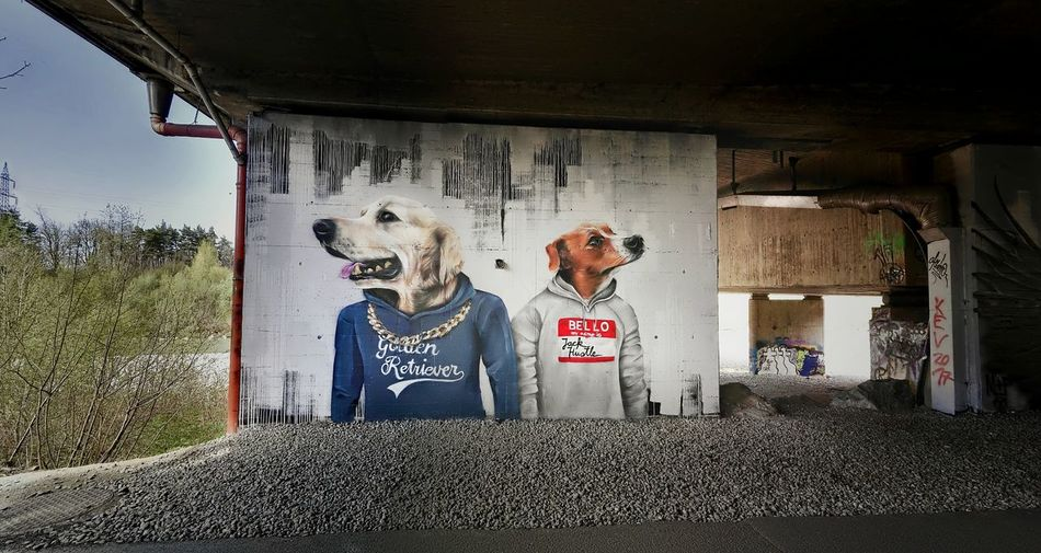 Two People Mid Adult Men Young Adult Lifestyles Togetherness Adult Text Bonding People Human Body Part Outdoors Adults Only Mid Adult Animals Doggystlye Dogs Hunde HOODIES Graffiti Graffiti Art Graffiti Wall Freewall in Bregenz, by ALBINO_ONE Fashion Stories