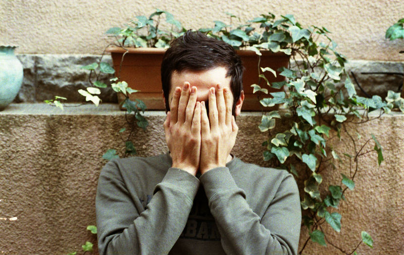 One Person Portrait Men Emotion Hand Front View Sadness Unrecognizable Person Obscured Face Real People Wall Hands Covering Eyes Depression - Sadness Human Face Human Body Part Film Film Photography Filmisnotdead Analogue Photography Analogue 35mm 35mm Film