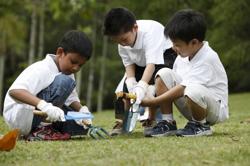 Boys Playing With Gardening Hand Tools On Field