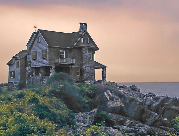 House on a Hill Abandoned Architecture Beach Building Exterior Built Structure Day Dusk House No People Old-fashioned Outdoors Residential Building Rural Scene Sea Sky Sunset Tree