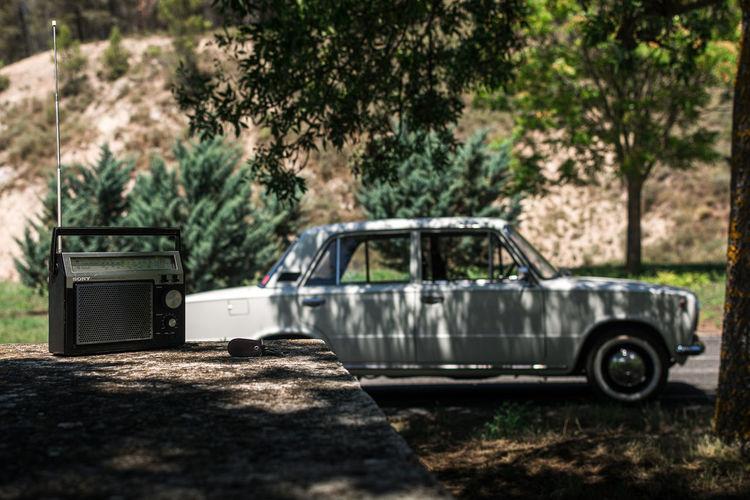 Vintage car on field