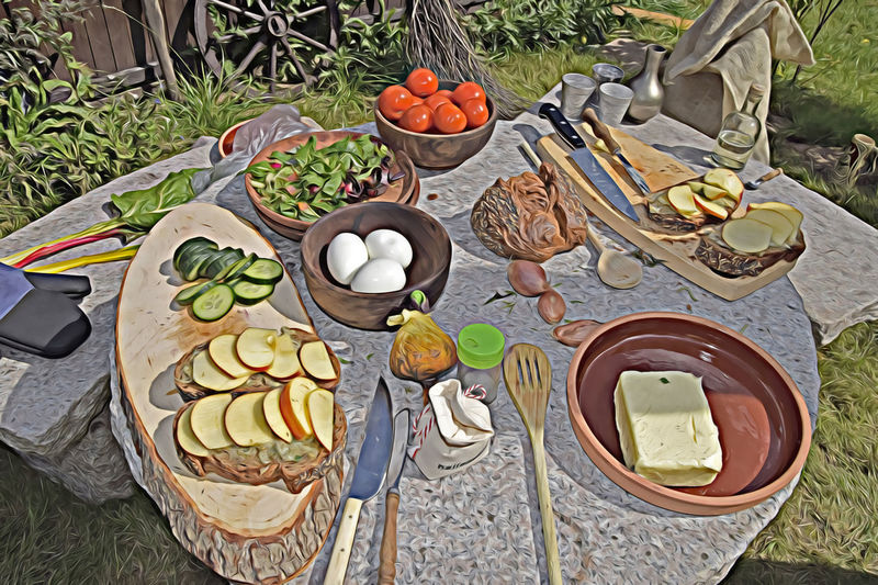 High angle view of fruits in basket on table