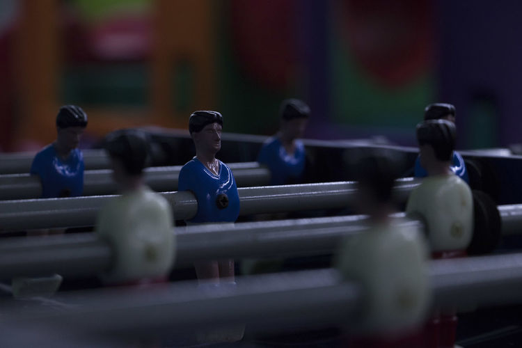 Close-up Competition Fuzzball  Group Human Representation In A Row Indoors  Metal Play Representation Selective Focus Sport Table Soccer