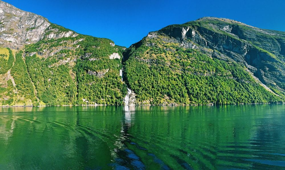 Geiranger Norway Beauty In Nature Water Mountain Clear Sky Outdoors No People Green Color