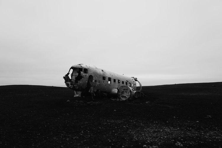 Abandoned dc plane wreck in desert