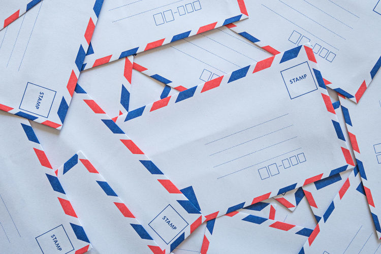 Full frame shot of envelopes