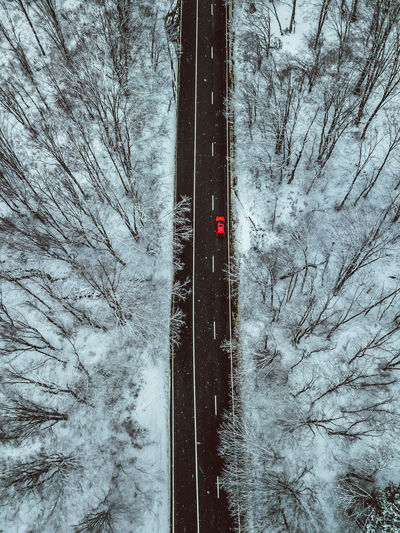 Tree Winter Cold Temperature Snow Plant Nature No People Bare Tree Transportation Land Forest Day Outdoors Sign Road Connection Mode Of Transportation Scenics - Nature Red Light Snowing Red Car Car Aerial View Aerial Photography Winter Capture Tomorrow