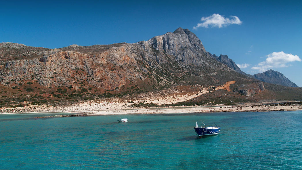 Balos Bay Balos Balos Lagoon Crete Greece Crete Island Beauty In Nature Blue Crete Day Mountain Mountain Range Nature Nautical Vessel No People Outdoors Rock - Object Sailing Scenics Sea Sky Sunlight Tranquil Scene Tranquility Travel Destinations Water