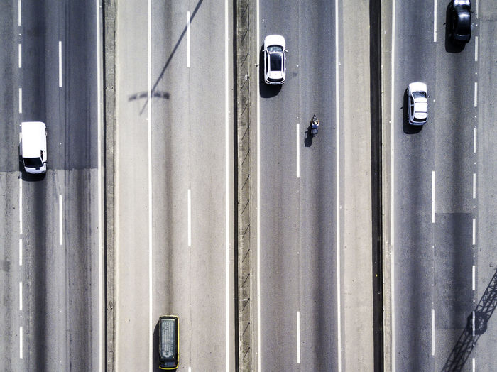 Aerial view of vehicles on four lane highway