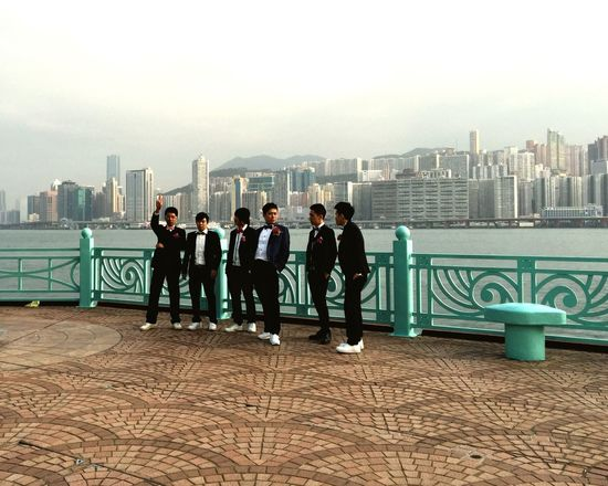 Hong Kong Wedding Best Men Groomsmen Harbour Group Photo Suits  Guys