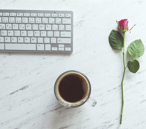 Coffee - Drink Coffee Cup Computer Computer Keyboard Flower Freshness Roses Table