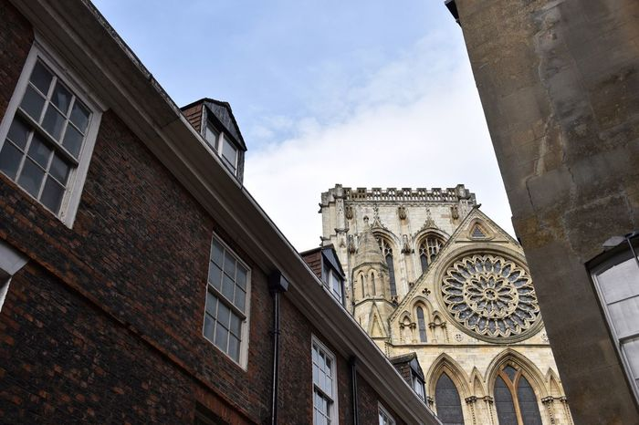 Architecture Building Exterior Religion Built Structure Low Angle View Spirituality Place Of Worship Day Window Cloud - Sky Sky Outdoors History No People Travel Destinations York Minster  York Cathedral Historical Building Historical Monuments History Through The Lens  Old Architecture Old Buildings Architecture_collection Historic