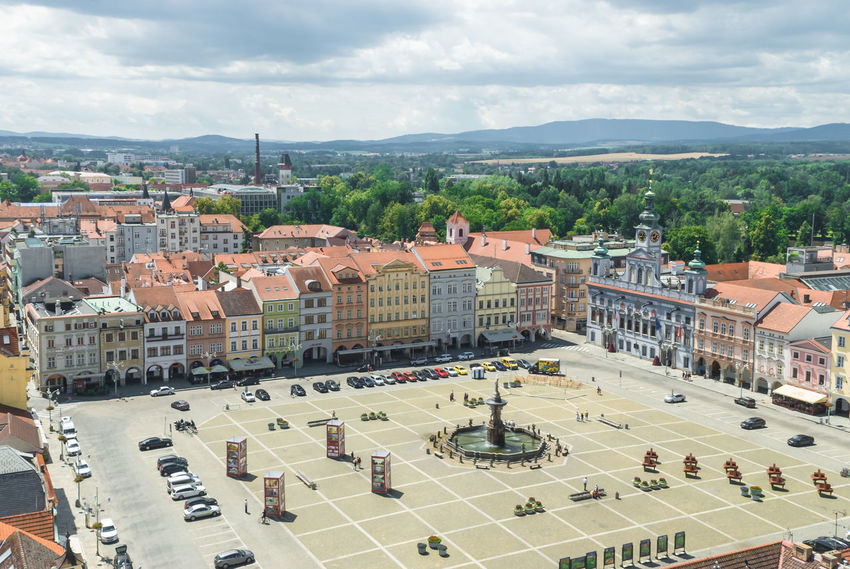Ceske Budejovice from Clock Tower, Czech Republic Budweiser City Cityscape Czech Czech Republic Europe Trip Square Architecture Building Exterior Built Structure Ceske Budejovice Ceskebudejovice Cloud - Sky Europe High Angle View Outdoors Sky Tree Urban Urban Landscape Urban Skyline
