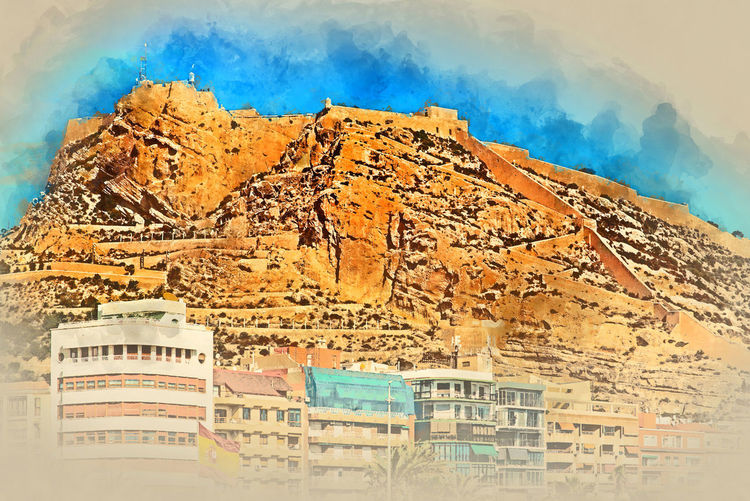 Digital watercolor painting of a Mount Benacantil with a Castle of Santa Barbara (Castillo de Santa Barbara)- fortification in the centre of Alicante city. Valencian Community, Costa Blanca. Spain Alicante, Spain Altered Ancient Architecture Architecture Castle City Color Costa Blanca Day Digital Art Digital Watercolor Digitally Generated Europe Fort Fortification Generated Illustration Landmark Mountain Outdoors Santa Barbara Castle Sky SPAIN Urban Watercolor Painting