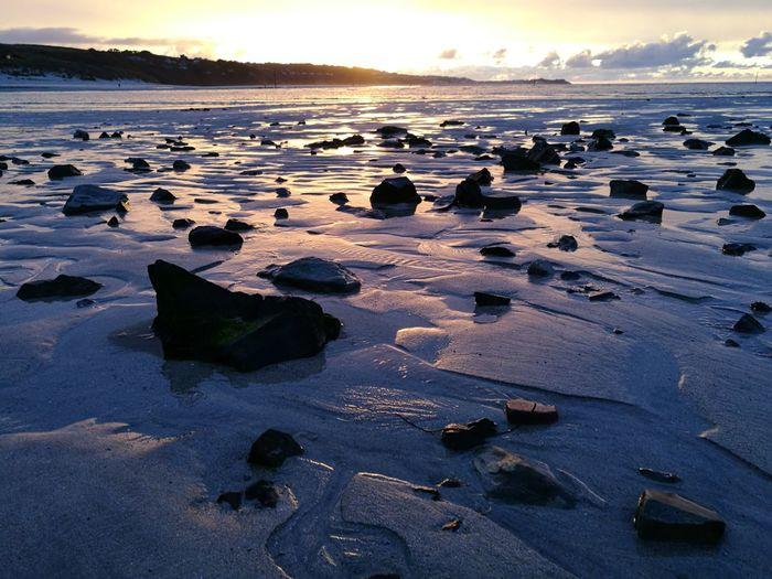 Hayle rocks Hayle Hayle Beach Cornwall Cornwall Uk Water Sea Sunset Beach Low Tide Sand Blue Cold Temperature Sky Landscape Pebble Beach Rocky Coastline EyeEmNewHere