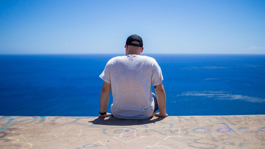 Rear view of man sitting by sea against clear sky during summer
