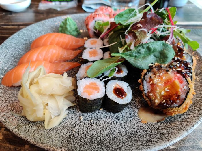 Close-up of sushi served on table