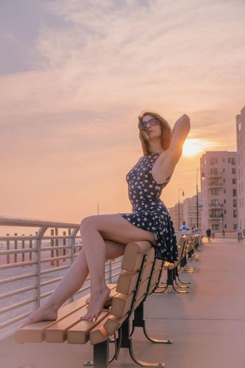 Body Curves  Sexygirl Fit Girl Slim Beautiful Woman Attractive Seductive Model Fashion One Young Woman Only Girl Skirt Legs Pale Skin Young Boardwalk Sunset Young Women Portrait Water Sunset Full Length Women Beach Summer Sitting Beauty Swimwear Sundress Beach Holiday My Best Photo
