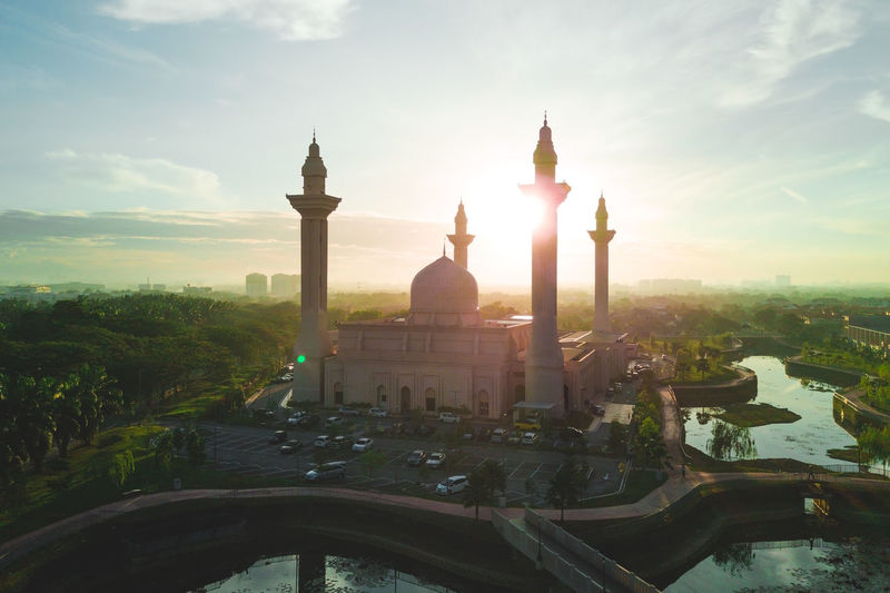 Aerial View of a Mosque at sunrise/dawn Aerial Aerial Photography Aerial Shot Aerial View Architecture Architecture City Dome Eid House Of Worship Islam Islamic Architecture Malaysia Masjid Minaret Mosque Mosques Outdoors Place Of Worship Place Of Worship Ramadan  Sky Sunrise Sunset Travel Destinations