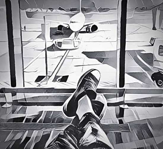 Airport Waiting Waiting For The Plane Delayed Cartoon Effect  Cartoon Blackandwhite EyeEm Best Shots - Black + White Shoes Legs Fine Art Photography Tom Tom Club