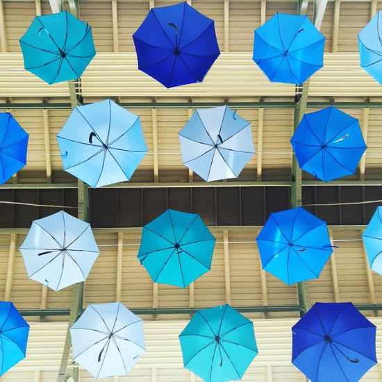 Full Frame Blue Composition Pattern Day Outdoors No People Close-up Umbrellas Installation Art Arminius-markthalle Berlin Photography Berlin