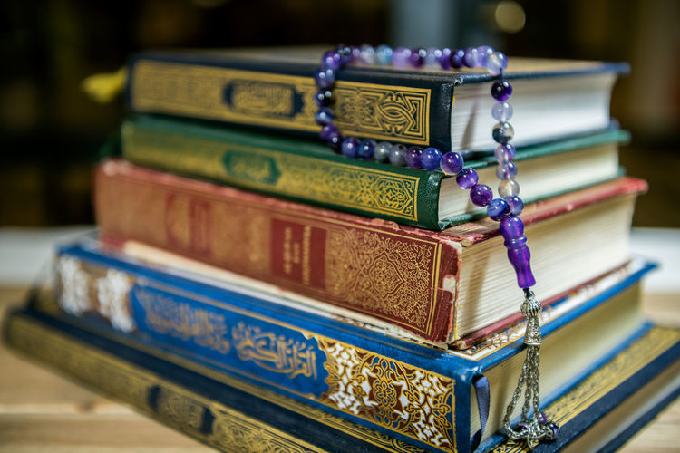 Beads Faith Mubarak Quran Ramadan  Rosary Arab Arabic Background Book Close-up Holy Indoors  Islam Islamic Muslim No People Religion Still Life Wooden