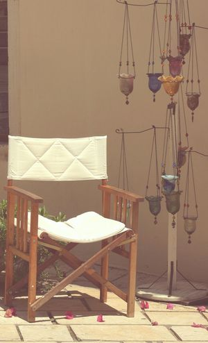 Chair Tea Lights Lamps Ceramic Glass Street Shot Corfu Town