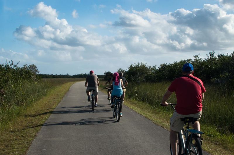 Rear view of people riding bicycle on road against sky