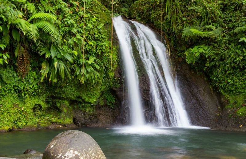 Waterfall Waterfall Landscape Guadeloupe Carribean Tropical Paradise Tropical Climate Motion Effect