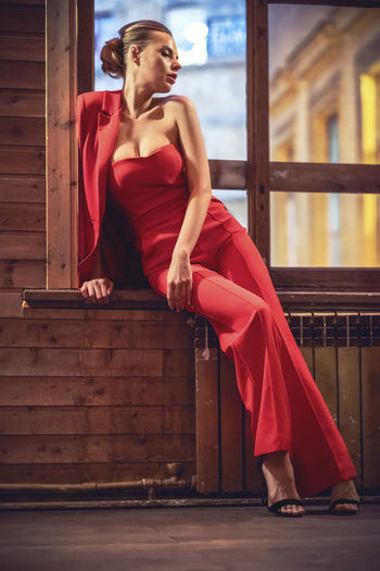 Red Beautiful Woman One Person Real People Beauty Looking Looking Away Sitting Young Adult Clothing Adult Wood - Material Full Length Fashion Women Young Women Leisure Activity Dress Contemplation Hairstyle Sexygirl Sexyselfie SexyGirl.♥ Boobiiiees!