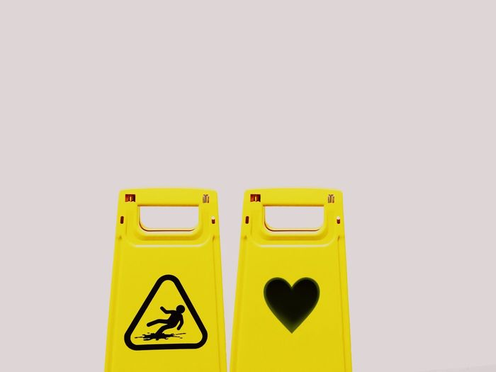 Falling in love Valentine's Day  Love Yellow Copy Space No People White Background Falling In Love Special Heart Gift Beware