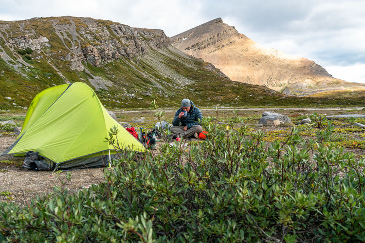 High angle view of tent on mountain