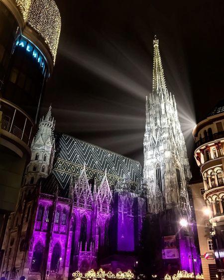X-Mas in Vienna Xmasinvienna Xmas Night Illuminated Architecture Built Structure Building Exterior Decoration Low Angle View Christmas Lighting Equipment