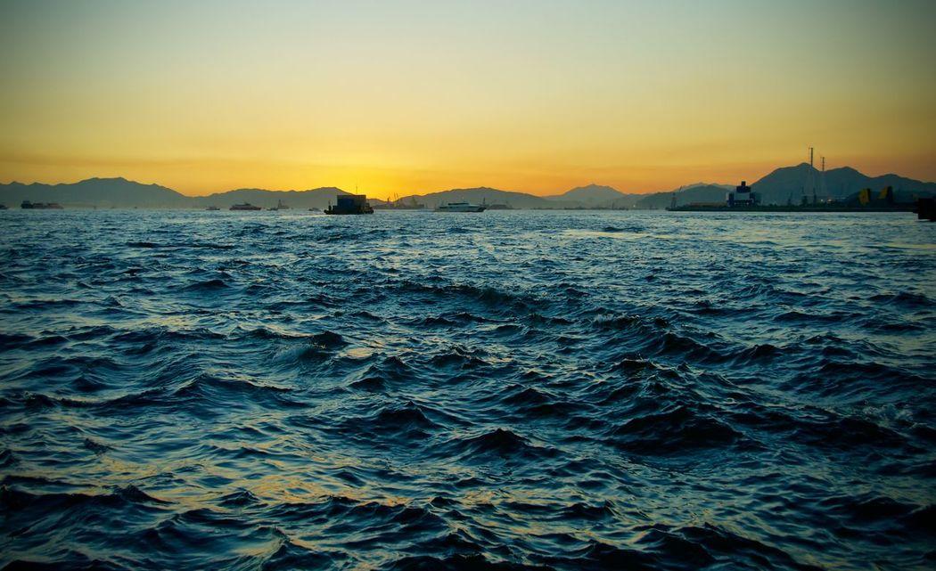 Hong Kong Scenics Sea Seascape Sunset Travel Destinations Victoria Harbour Water Colour Of Life Color Of Life! Color Of Life