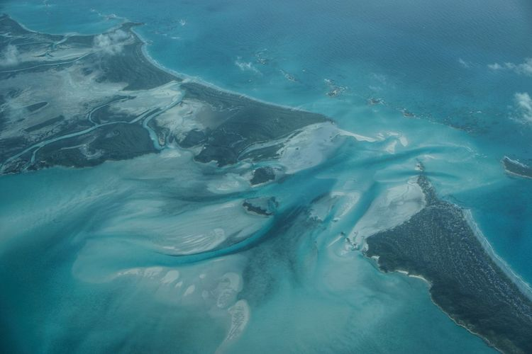 Aerial view of shroud cay in exuma