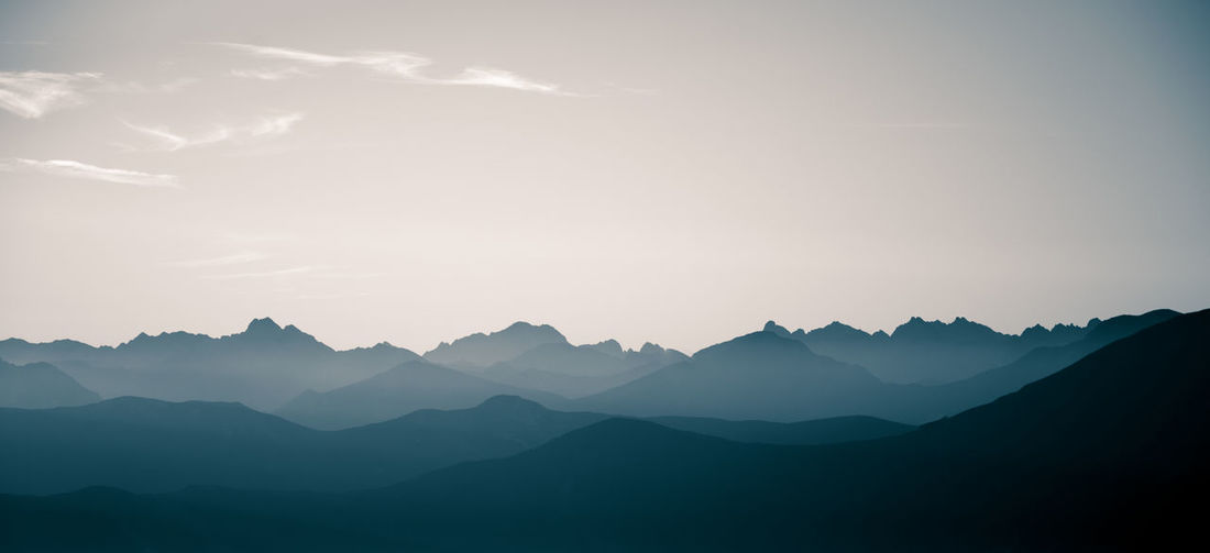 Scenic view of silhouette mountains against sky