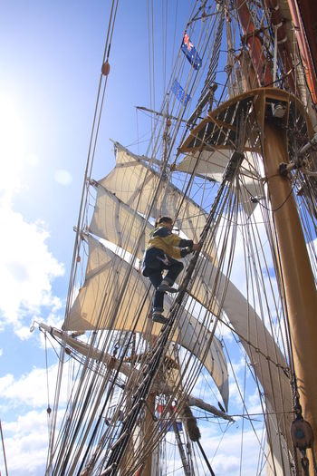 Adrenaline Junkie Adventure Climbing Head For Heights Mast Nautical Vessel Sailboat Sailing Sailing Ship Square Rigger Tall Ship Windjammer
