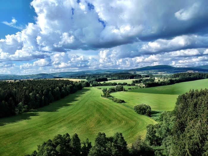 EyeEm Best Shots Krkonose Bigmountains Riesengebirge Wallpaper Cloud - Sky Landscape Scenics - Nature Plant Sky Beauty In Nature Environment Tranquil Scene Tranquility Rural Scene Land Field Green Color Growth No People Tree Farm Nature Agriculture Day