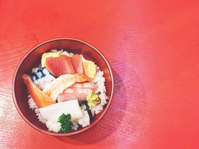 Food Food And Drink Healthy Eating No People Freshness Red Background Sushi Ready-to-eat Cultures Lunch Sashimi Bowl Sashimi